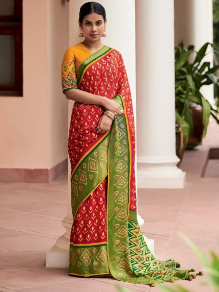 Red Colored Weaving Brasso Silk Saree - gnp0108794