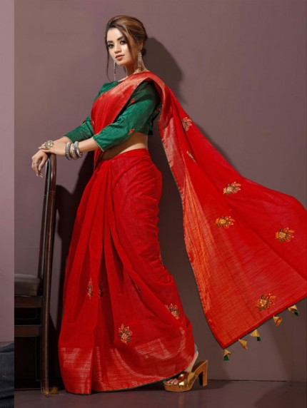 Red Fancy heavy Linen cotton Flax stylish Designer saree with Designer Blouse