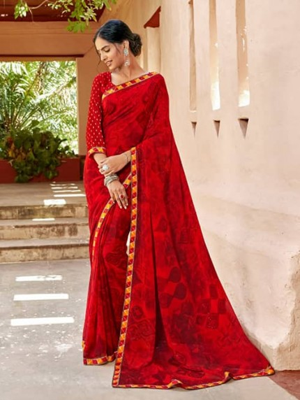 Red Georgette With Pogo Work and Fancy Blouse - gnp009442