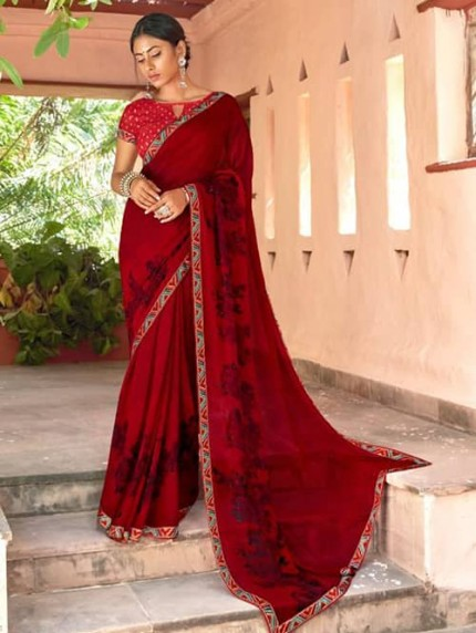Red Georgette With Pogo Work and Fancy Blouse - gnp009443