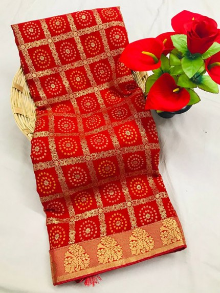 Red Marbal Chiffon Print and Foil Print With Less Patti - gnp0108663