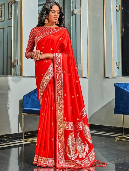 Red Pure Silk Fabric With Dual Shade Weaving Saree - gnp0108900