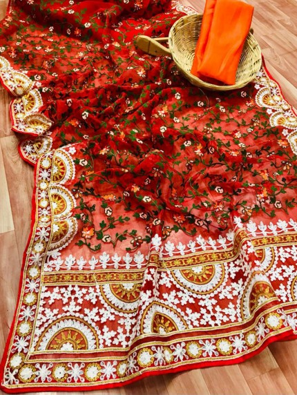Red Saree In Organza With Shining Stone And Flower Embroidery with Embroidery Border Design Online - gnp0108810