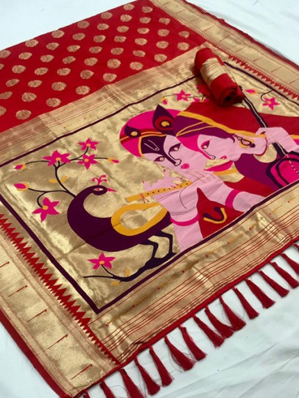 Red Soft Pure Silk Paithani Weaving Rich Pallu Saree - gnp0108771