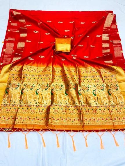 Red Soft Silk Saree with Beautiful Reach Pallu and Jacquard Weaving - gnp0108839