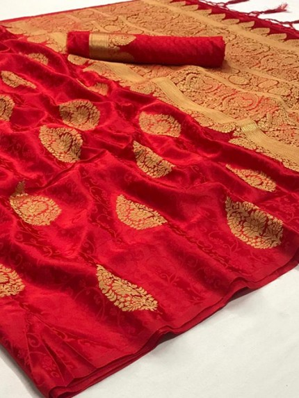 Red Weaving Soft Satin Silk Saree - gnp008861