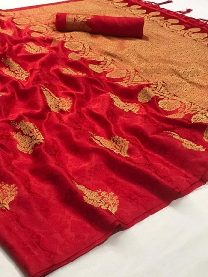 Red Weaving Soft Satin Silk Saree - gnp008867