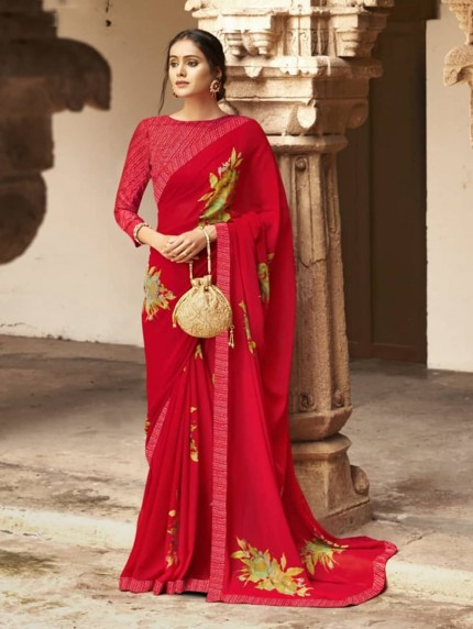Red Weightless Printed Saree With Fancy Mask - gnp009212