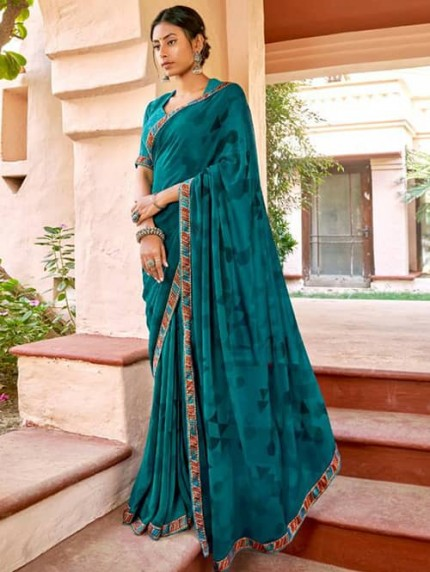Sea Green Georgette With Pogo Work and Fancy Blouse - gnp009444