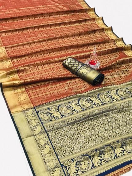 Silk Woven Kanchipuram Pattern saree gnp008149