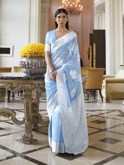 GrabandPack Sky Blue Lucknowi Chikankari work saree