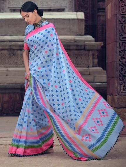 Sky Cotton Silk Saree With Pum Pum Border - gnp009427