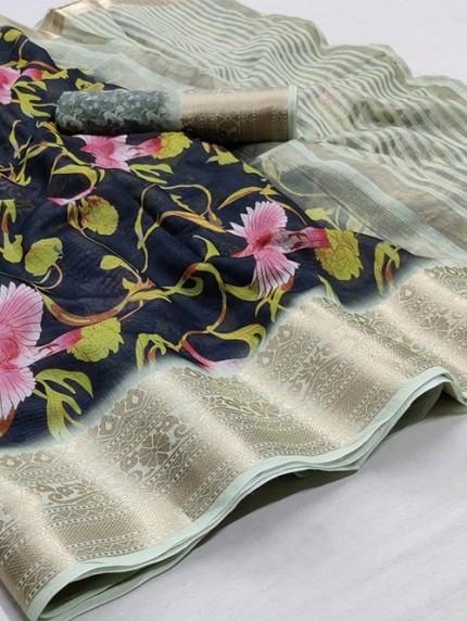Soft Cotton With Digital Print Saree - gnp008255