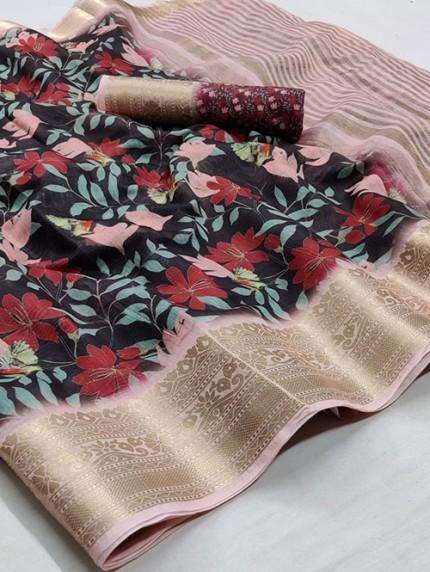 Soft Cotton With Digital Print Saree - gnp008257