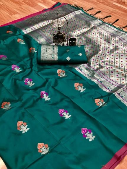 lichi silk weaving jacquard saree in Green grabandpack