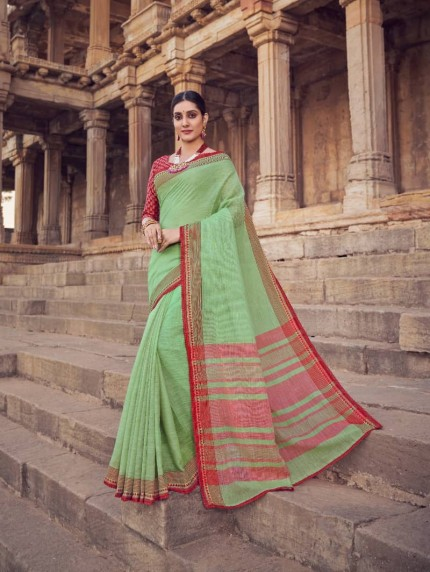 Green Linen silk saree online