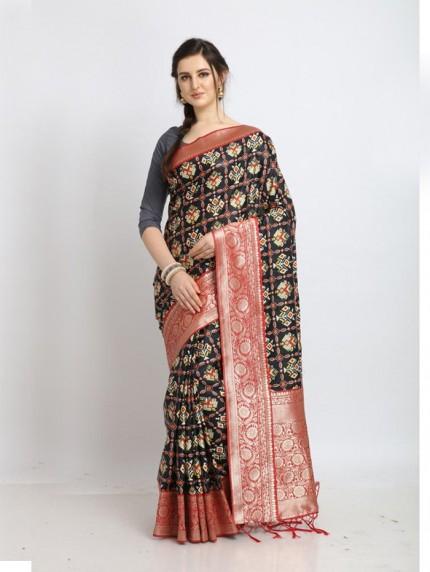soft silk Patola saree in Black