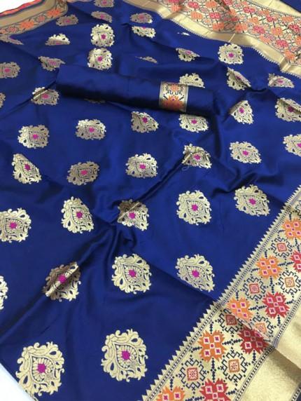 Stunning Banarasi silk weaving meenakari saree (Blue)