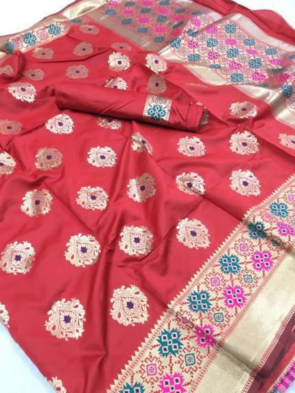 Stunning Banarasi silk weaving meenakari saree (Peach)