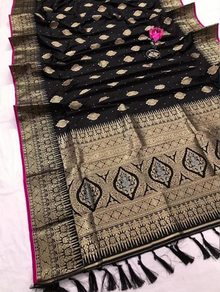 Stunning Black Attractive Soft Silk woven saree