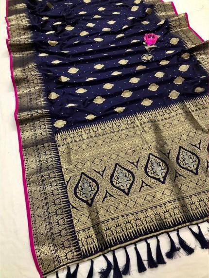 Attractive Blue Soft Silk woven saree
