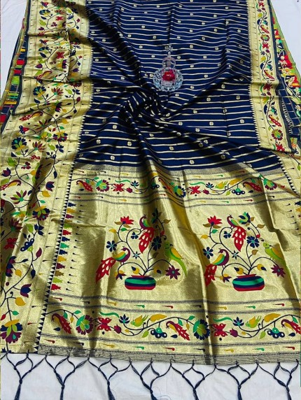 indian Branded Blue Pethani Silk Saree