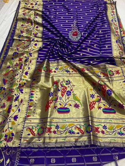 GrabandPack blue Pethani Silk saree