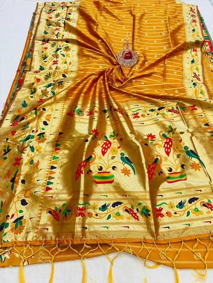 GrabandPack Orange Pethani Silk saree
