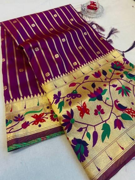 GrabandPack Purple Pethani Silk saree
