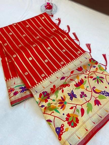 GrabandPack Red Pethani Silk saree