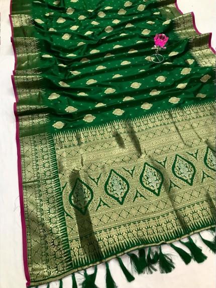 Attractive Green Soft Silk woven saree
