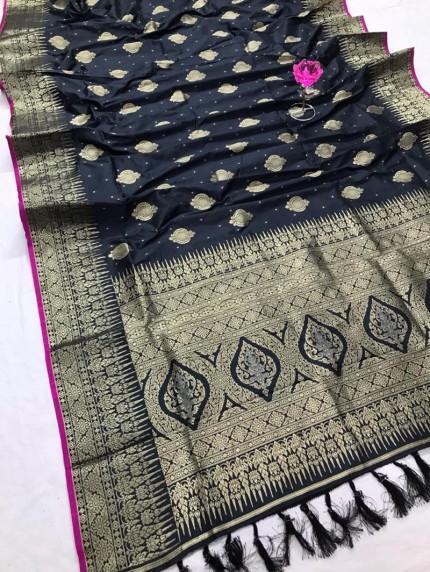 Stunning Grey Attractive Soft Silk woven saree