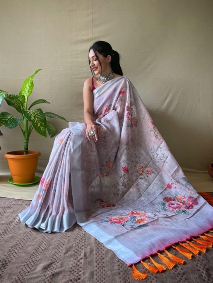 linen saree with golden border grabandpack