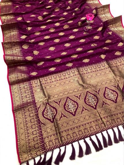 Attractive magenta Soft Silk woven saree