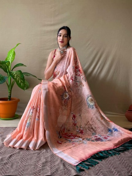 Printed designer linen saree by grabandpack