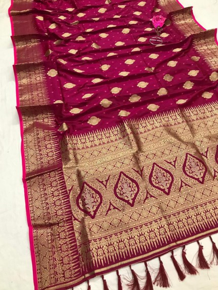 Attractive Pink Soft Silk woven saree