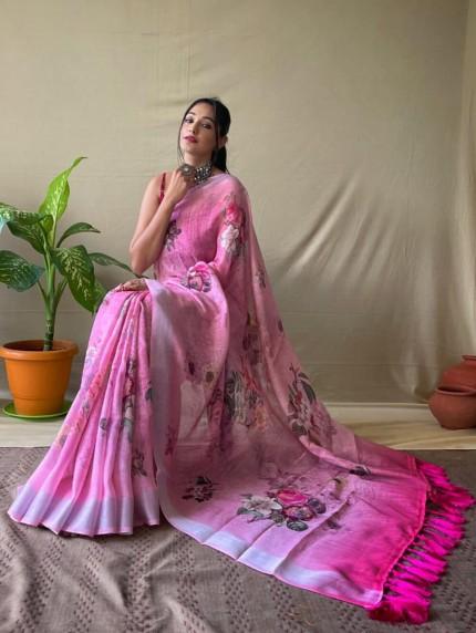 Pink Linen silk Gorgeous saree