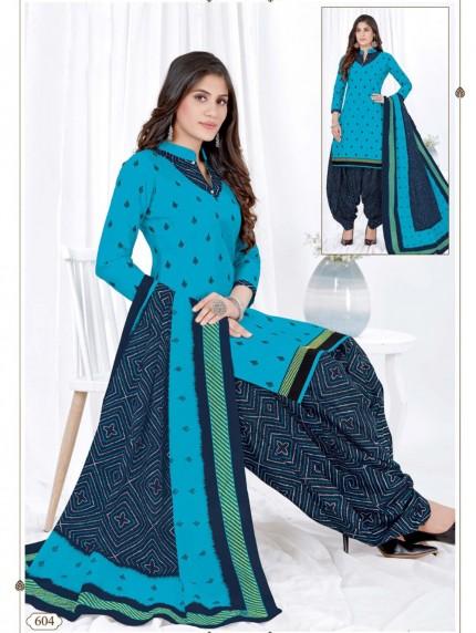 women's Stunning Printed Pocket Style Blue Patiyala Salwar suit