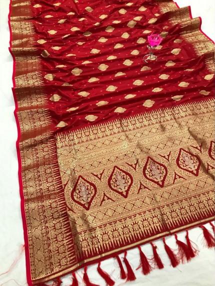 Attractive Red Soft Silk woven saree