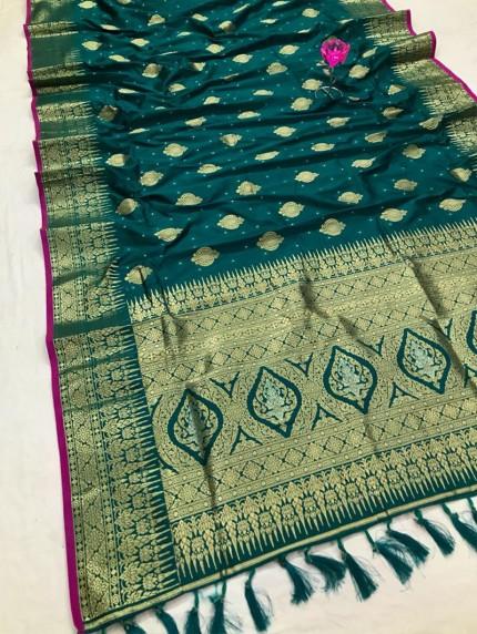 Attractive Sea Green Soft Silk woven saree