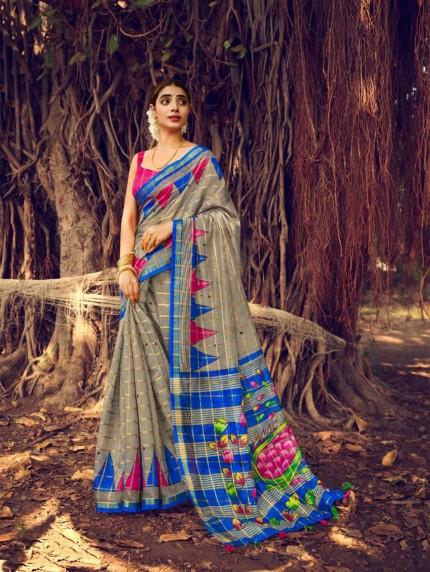 Stylish Printed Linen saree