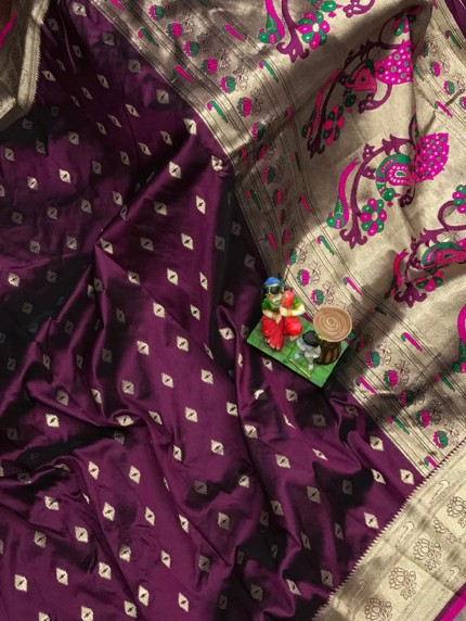 Super Soft Paithani Lichi Silk with Water Gold Zari Weaving Full Butti - gnp0108830