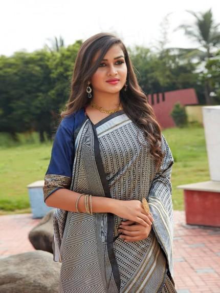Black lichi silk saree