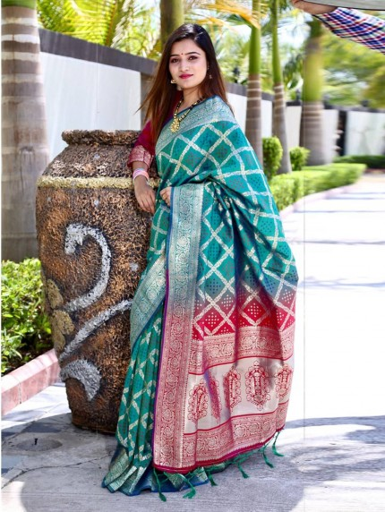 Trendy Green Silk weaving jacquard Bandhni saree