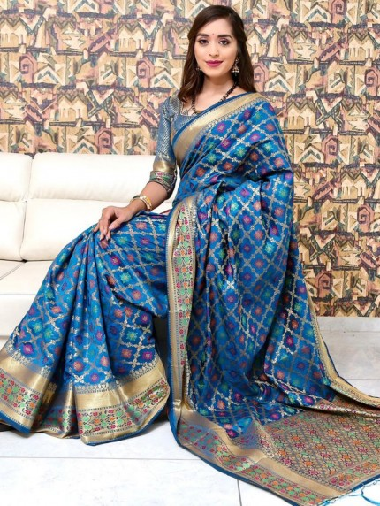 Trendy Blue Weaving Jacquard saree - grabandpack