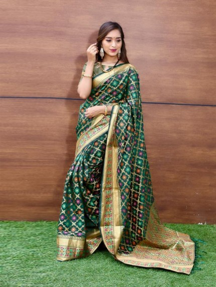 Trendy Green Weaving Jacquard saree