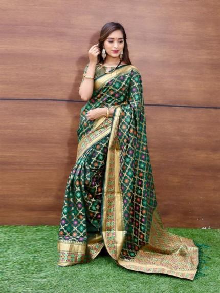 Trendy Green Weaving Jacquard saree