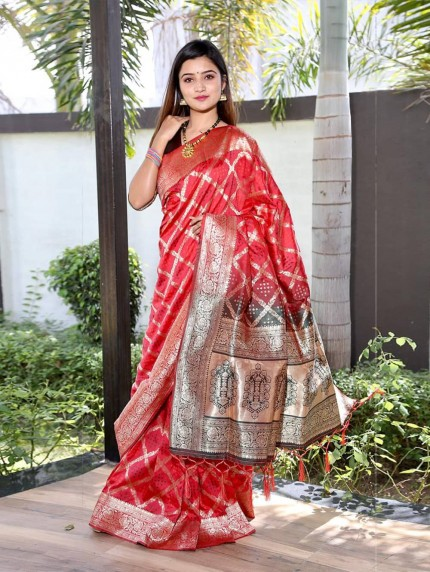 Trendy peach Silk weaving jacquard Bandhni saree