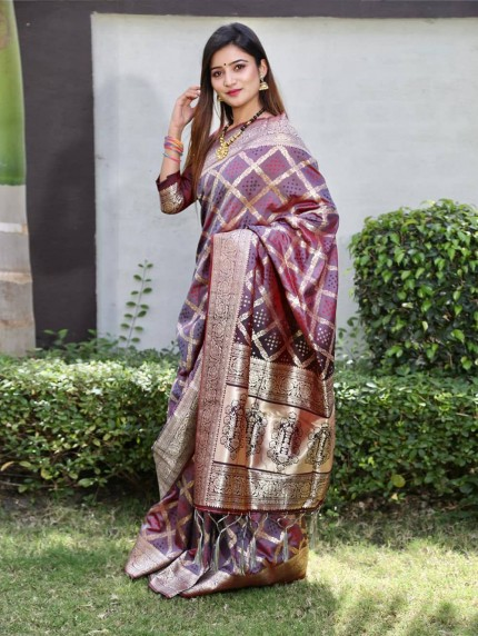 Trendy purple Silk weaving jacquard Bandhni saree