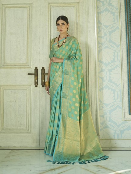 GrabandPack two tone silk sarees online in Green